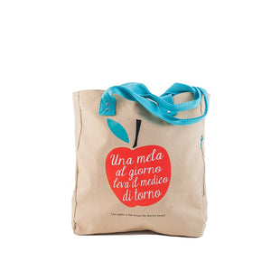 Borsa donna in canvas That's Italia - una mela...