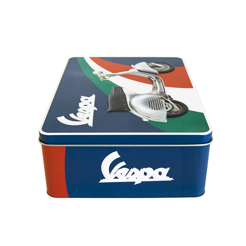 Scatola in latta orizzontale Vespa - tricolore blu - That's Italia