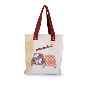 Borsa Fiat 500 in canvas beige - fiori