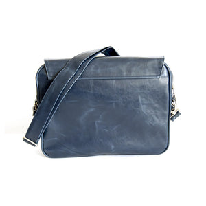 Borsa messenger Lambretta in ecopelle con inserto - blu - That's Italia