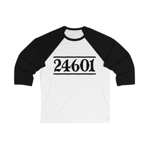 24601 Jean Valjean (Les Miserables) - Unisex 3/4 Sleeve Baseball Tee White/ Black / S Men Women Long-Sleeve