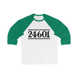 24601 Jean Valjean (Les Miserables) - Unisex 3/4 Sleeve Baseball Tee White/ Kelly / S Men Women Long-Sleeve