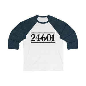 24601 Jean Valjean (Les Miserables) - Unisex 3/4 Sleeve Baseball Tee White/ Navy / S Men Women Long-Sleeve