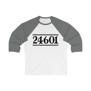 24601 Jean Valjean (Les Miserables) - Unisex 3/4 Sleeve Baseball Tee White/asphalt / L Men Women Long-Sleeve