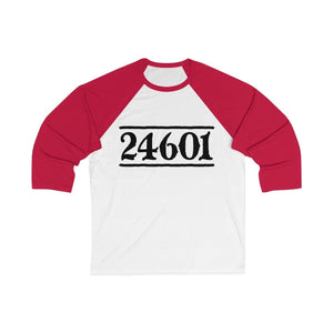 24601 Jean Valjean (Les Miserables) - Unisex 3/4 Sleeve Baseball Tee White/red / S Men Women Long-Sleeve