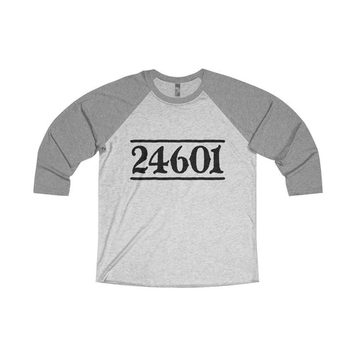 24601 Jean Valjean (Les Miserables) - Unisex Tri-Blend 3/4 Raglan Tee L / Premium Heather / Heather White Men Women Long-Sleeve