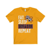 Eat Sleep Theatre Repeat - Unisex Jersey Short Sleeve Tee Gold / Xs Men Women T-Shirt