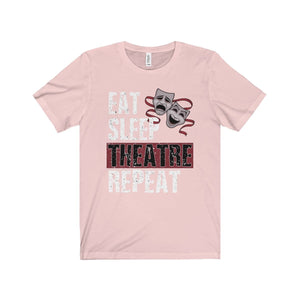 Eat Sleep Theatre Repeat - Unisex Jersey Short Sleeve Tee Soft Pink / Xs Men Women T-Shirt