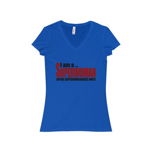 """I am a Superwoman"" - Women's Jersey Short Sleeve V-Neck Tee - Theatre Geek Shirts & Apparel"