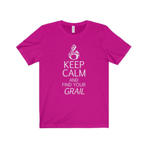 Keep Calm And Find Your Grail (Spamalot) - Unisex Jersey Short Sleeve Tee Berry / Xs Men Women T-Shirt