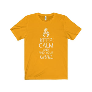 Keep Calm And Find Your Grail (Spamalot) - Unisex Jersey Short Sleeve Tee Gold / Xs Men Women T-Shirt