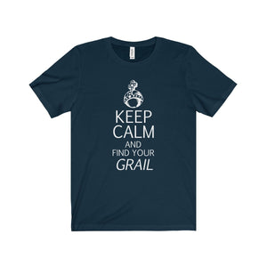 Keep Calm And Find Your Grail (Spamalot) - Unisex Jersey Short Sleeve Tee Navy / Xs Men Women T-Shirt