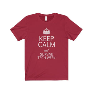Keep Calm And Survive Tech Week - Unisex Jersey Short Sleeve Tee Canvas Red / Xs T-Shirt