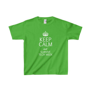Keep Calm And Survive Tech Week - Youth Heavy Cotton Tee Electric Green / Xs Kids Clothes