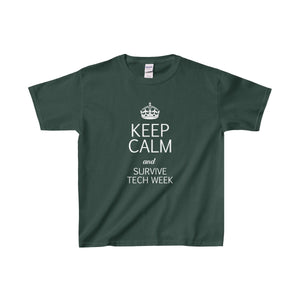 Keep Calm And Survive Tech Week - Youth Heavy Cotton Tee Forest Green / Xs Kids Clothes