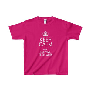 Keep Calm And Survive Tech Week - Youth Heavy Cotton Tee Heliconia / Xs Kids Clothes