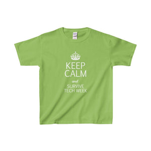 Keep Calm And Survive Tech Week - Youth Heavy Cotton Tee Lime / Xs Kids Clothes