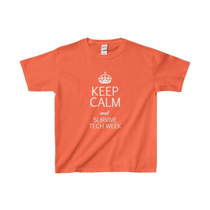 Keep Calm And Survive Tech Week - Youth Heavy Cotton Tee Orange / Xs Kids Clothes