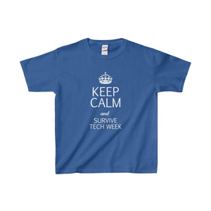 Keep Calm And Survive Tech Week - Youth Heavy Cotton Tee Royal / Xs Kids Clothes