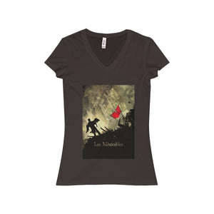 Les Miserables Shirt - Womens Jersey Short Sleeve V-Neck Tee Chocolate / S Women V-Neck