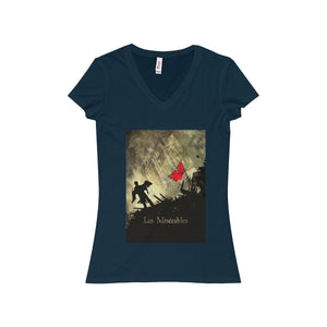 Les Miserables Shirt - Womens Jersey Short Sleeve V-Neck Tee Navy / S Women V-Neck