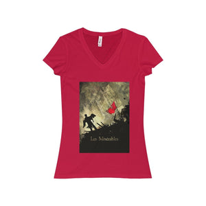 Les Miserables Shirt - Womens Jersey Short Sleeve V-Neck Tee Red / S Women V-Neck