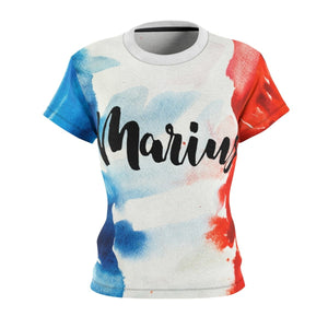 Les Miserables Marius And French Flag - Womens Tee 4 Oz. / White Seams / L Women All Over Prints