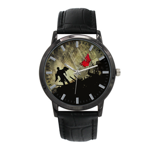 Les Miserables Quartz Watch With Leather Band Concise Dial Water-Resistance (Black Band)