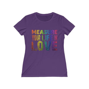 Measure Your Life In Love (Rent) - Womens Missy Tee Purple / S Women T-Shirt