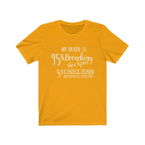 My Brain is 95% Broadway Show Lyrics - Unisex Jersey Short Sleeve Tee Gold / XS Men Women T-Shirt