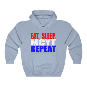 Organization (Mcyt) - Eat Sleep Mcyt Repeat - Unisex Heavy Blend Hooded Sweatshirt Light Blue / S Hoodie