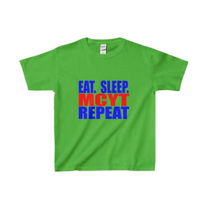 Organization (Mcyt) - Eat Sleep Mcyt Repeat - Youth Heavy Cotton Tee Electric Green / Xs Kids Clothes
