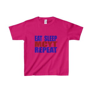 Organization (Mcyt) - Eat Sleep Mcyt Repeat - Youth Heavy Cotton Tee Heliconia / Xs Kids Clothes