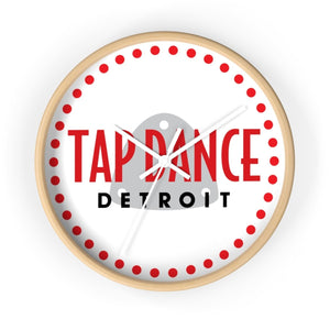 Organization (TDD) - Tap Dance Detroit Logo Wall Clock 10 in / Wooden / White Home Decor