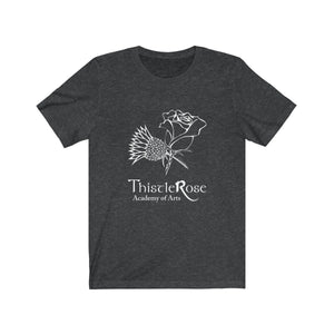 Organization (TRAA) - Thistle Rose Academy Arts Logo Unisex Jersey Short Sleeve Tee Dark Grey Heather / XS Men Women T-Shirt