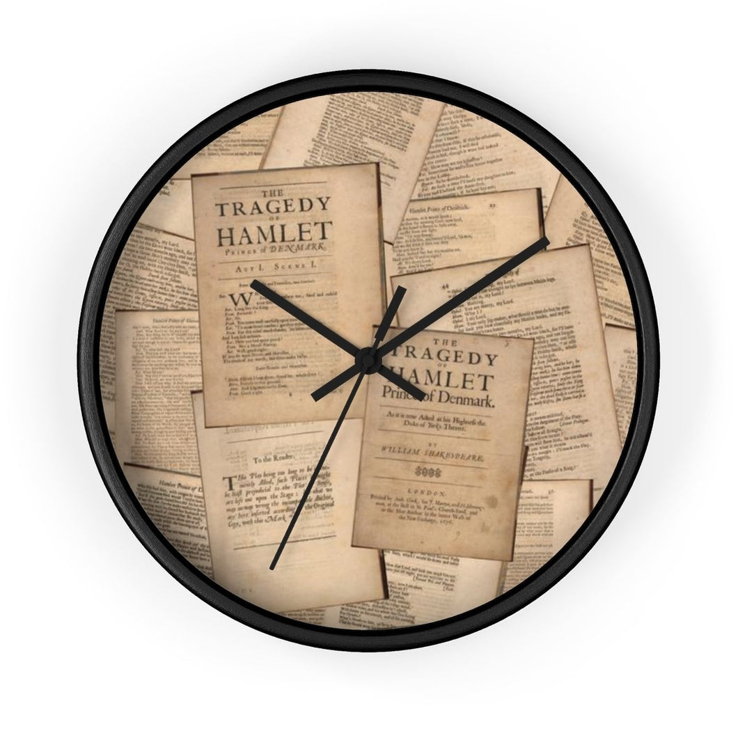 Shakespeare Hamlet - Wall Clock 10 In / Black / Black Home Decor
