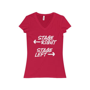 """Stage Right Stage Left"" - Women's Jersey Short Sleeve V-Neck Tee - Theatre Geek Shirts & Apparel"