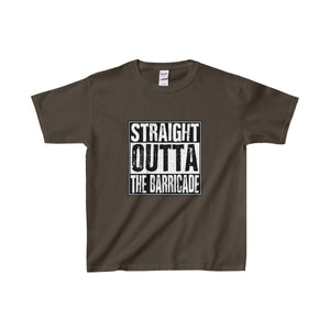 Straight Outta The Barricade - Youth Heavy Cotton Tee Dark Chocolate / Xs Kids Clothes
