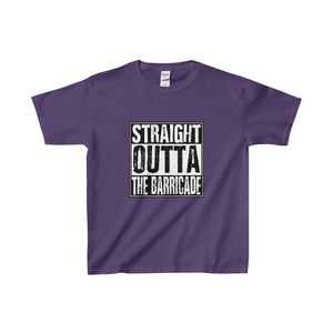 Straight Outta The Barricade - Youth Heavy Cotton Tee Purple / Xs Kids Clothes