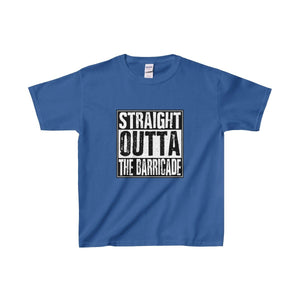 Straight Outta The Barricade - Youth Heavy Cotton Tee Royal / Xs Kids Clothes