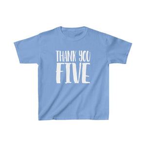 Thank You Five - Youth Heavy Cotton Tee Carolina Blue / Xs Kids Kids Clothes