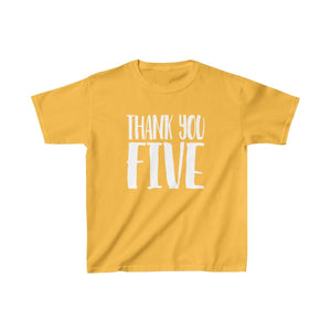 Thank You Five - Youth Heavy Cotton Tee Gold / Xs Kids Kids Clothes