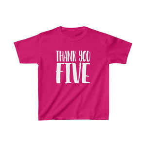 Thank You Five - Youth Heavy Cotton Tee Heliconia / Xs Kids Kids Clothes