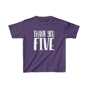 Thank You Five - Youth Heavy Cotton Tee Purple / Xs Kids Kids Clothes