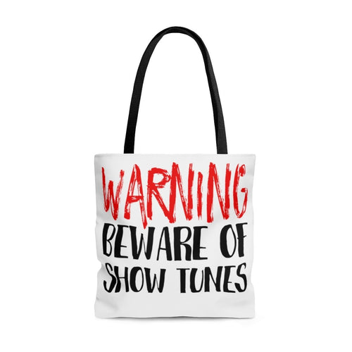 Warning Beware Of Show Tunes - Tote Bag Large Bags