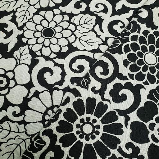Black 'n White Floral Fabric