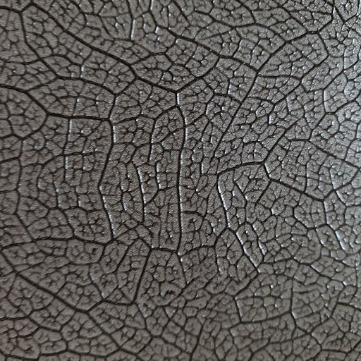 Platinum Metallic Leaf Patterned Faux Leather