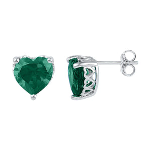 e9d15c33d1d83 Sterling Silver Womens Heart Lab-Created Emerald Solitaire Stud Earrings  5-1/2 Cttw