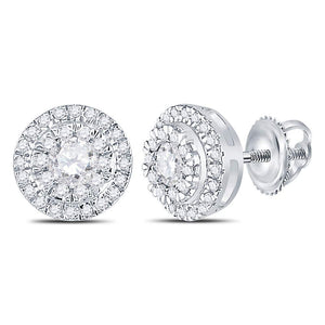 cd2bab2ec 10kt White Gold Womens Round Diamond Circle Cluster Stud Earrings 1/2 Cttw