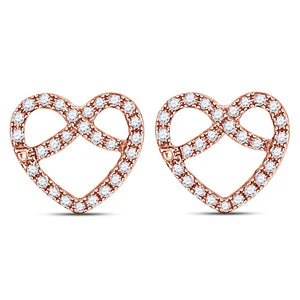 76ee3ca9b 10kt Rose Gold Womens Round Diamond Pretzel Heart Stud Earrings 1/6 Cttw